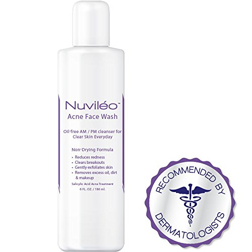 Nuviléo Acne Face Wash - Acne Treatment - 2% Salicylic Acid - Hormonal Acne, Teen Acne, Acne Vulgaris, Cystic Acne, Acne Scars, Natural Facial Cleanser, Non-Drying, Oil-Free, Gentle Formula - 6 oz