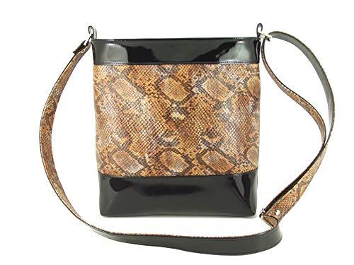 Tan Faux Snakeskin Handbag - LONI Womens Cross-body Shoulder Bag Faux Snakeskin