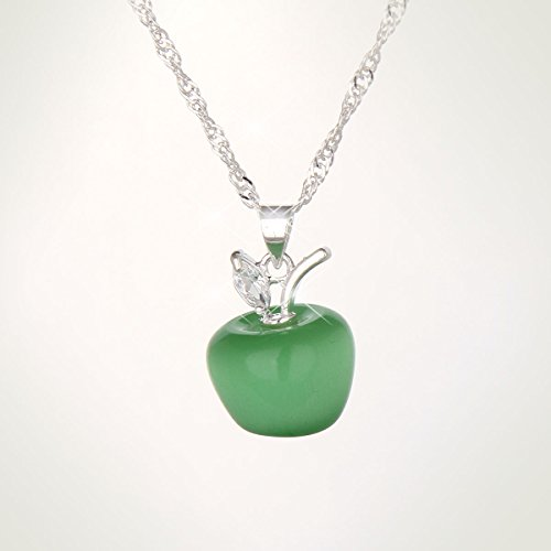 Diamond Apple Pendant - LLNF 925 Silver Necklace Chain Apple Diamond Pendant Necklace For Women,18