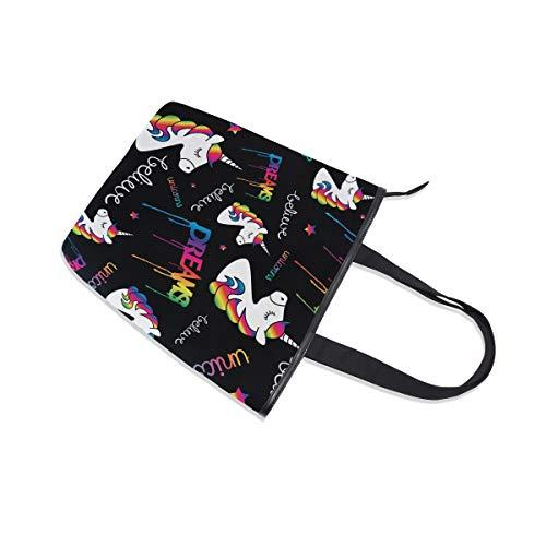 Jeansame arcobaleno tela cerniera superiore shopper unicorni da Borsa maniglia cute con spalla donna borsa nero rrqwOdaxF