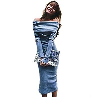 Sandistore Women Long Sleeve Off Shoulder Winter Stretch Bodycon Long Dress (US 4 (Asia S))