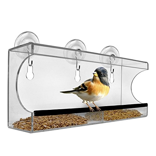 Window Bird Feeder by Chillax with Strong Suction Cups for Outdoors - Unique Large Clear Squirrel Proof Hummingbird Feeders used Outside - Perfect Gift for Kids, Adults and Wild Cardinal Lover Large Outside Birdbath