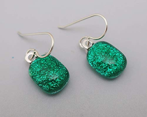 Dainty Fused Green Dichroic Glass dangle Earrings Sterling silver ear wires #155 ()