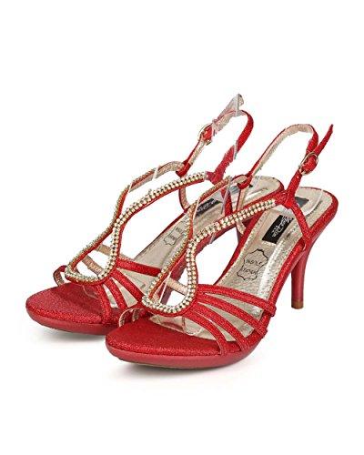 Din EC45 Rhinestone Slingback Red Glitter Women Heel Cathy Toe Open Sandal Kitten 7Hqw75d