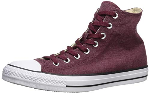 Converse Men's Unisex Chuck Taylor All Star Washed Canvas High Top Sneaker, Dark Burgundy/Natural Ivory, 7.5 M US