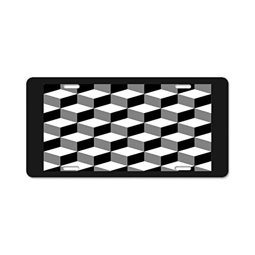 Nhl Cube - Pulongpoq Funny License Plate Cover with 4 Holes Cubes Black White Designed Decorative Metal Car License Plate Auto Tag
