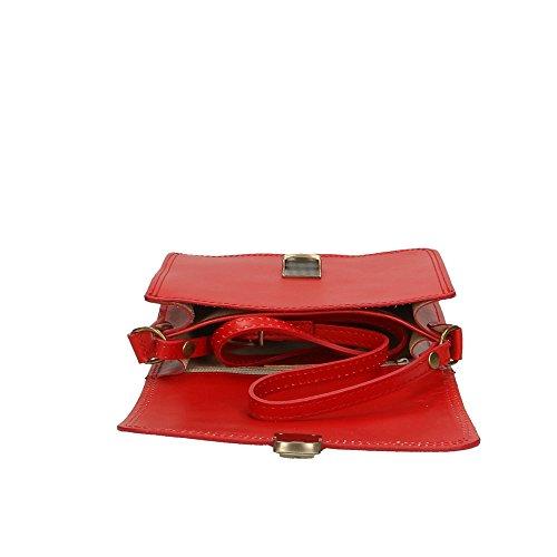 Cm Made 20x17x8 cuero in en de Italy de Bolso hombro Rojo Aren mujer genuino p8q47S4w