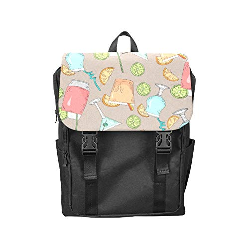 Fashion Flip Cover Notebook Cocktail Color Design Creative Romance Print Laptop Backpack Travel Men Women Business Computer Backpack Oxford Fabric Vintage School Shoulder Bag