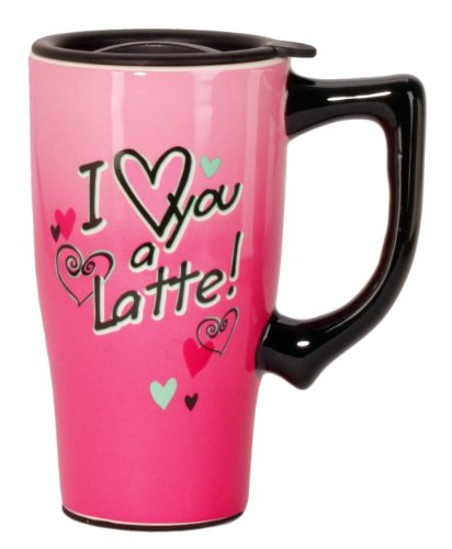 Spoontiques I Love You a Latte Travel Mug, Pink by Spoontiques