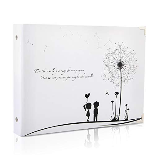 (THXMADAM Scrapbook Photo Album Wedding Guest Book DIY Memories Book with 50 Black Pages Present for Valentines Mothers Anniversary Day Birthday Christmas for Wife Daughter Girlfriend,White Dandelion B)