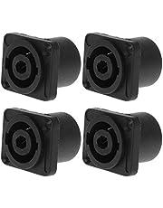ERUYN 4 STKS Jack Panel Socket Connector 4 Pole Audio Speaker Twist Lock Ronde Vierkante Mount voor Neutrik Speakon NL4MP NL4MPR NL4FC NL4FX NLT4X NL4 Serie NL2FC NL2 Zwart