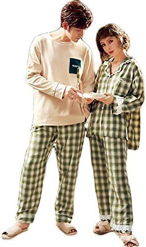 ジュタオピン ペア パジャマ カップル メンズ 上下 セット 高級 レディース ルームウェア おしゃれ 綿 長袖 部屋着 おそろい 春 かわいい コットン スウェット 紳士 m l ll 3l 寝巻き チェック柄 緑 ベージュ