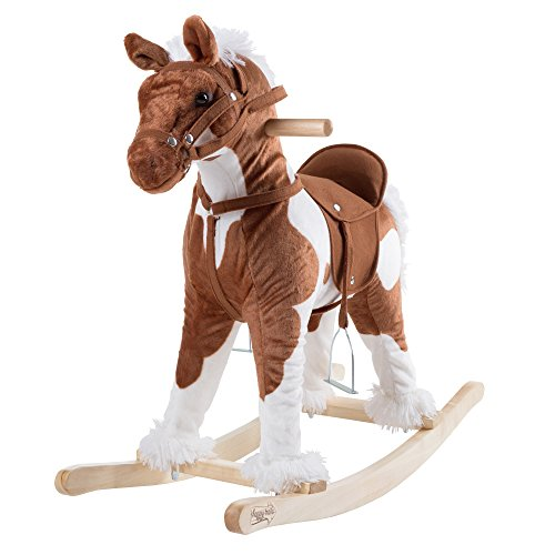 Rocking Horse Plush Animal on Wooden Rockers with Sounds, Stirrups, Saddle & Reins, Ride on Toy, Toddlers to 4 Years Old by Happy Trails – Clydesdale (Horse Chair)