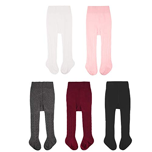 CozyWay Baby Tights Toddler Seamless Leggings Pantyhose Baby Girls Cable Knit Cotton Pants Stockings 3Pack (5 Pack Twist, 2-4 ()