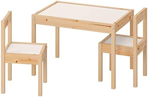 Ikea LATT-Mesa Infantil con 2 sillas, Color Blanco, Pino, Beige, Table with 2 Chairs