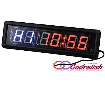 godrelish LED Fitness Crossfit temporizador de intervalos Cronómetro Reloj de pared con mando a distancia IR: Amazon.es: Deportes y aire libre
