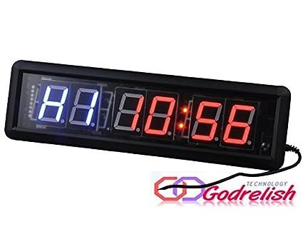 Godrelish Reloj de pared LED gimnasio de Crossfit temporizador de intervalos Cronómetro con control remoto IR