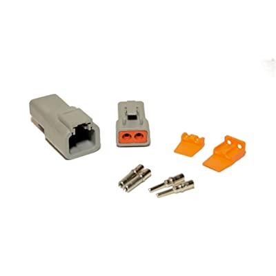 Deutsch DTP 2-Pin Connector Kit with 12-14 Gauge Solid Contacts: Automotive