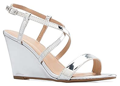 f0320d038 OLIVIA K Women s Strappy Water Dot Cut Out Wedge Sandals - Sexy Open Toe  Heel -
