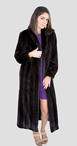 Female Mink Fur Coat with Fox Fur Tux (Mahogany, 2X)