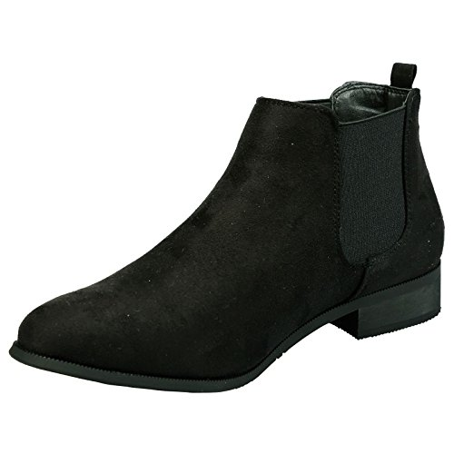 On Womens Heel Ankle Feet Pull Fashion Emma Black Boots Heel Faux Suede First Chelsea Low ByPublicDemand ZvqHYqFnI