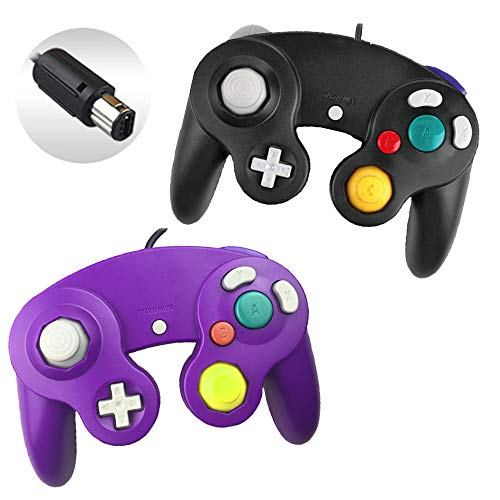 Reiso 2 Packs NGC Controllers Classic Wired Controller for Wii Gamecube(Purple and Black)