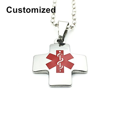 LiFashion LF Stainless Steel 316L Name ICE Personalized Custom Christ Cross Medical Alert Necklace Medic ID Pendant Health Alert Monitoring Emergency for Men Women Kids,Free Engraving Customized