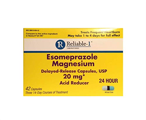 (RELIABLE 1 LABORATORIES Esomeprazole Magnesium Delayed - Release Capsules USP 42 Count, 20Mg Best Acid Reducer (3 Bottles, 14 Count/ea))