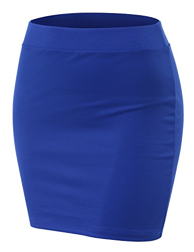 (Doublju Stretch Knit Bodycon Mini Skirt for Women with Plus Size Royal Large)