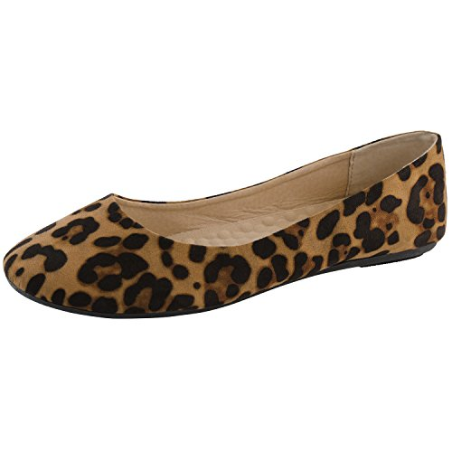 DailyShoes Women's Ballet Flat Shoes Slip On Classic Soft Warm Indoor Home Couples Arch Support Bedroom Flats Round Toe Leopard,sv,8