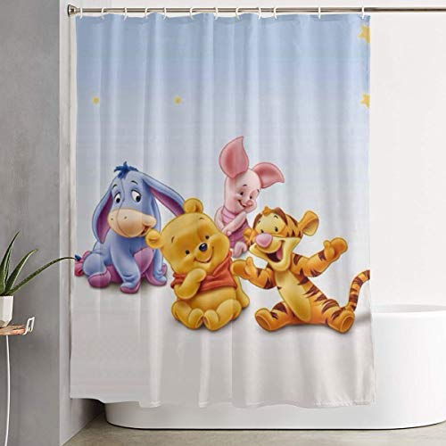 Duwamesva Shower Curtain Winnie The Pooh Art Print, Polyester Fabric Bathroom Decorations Collection with Hooks- 60 X 72 Inch