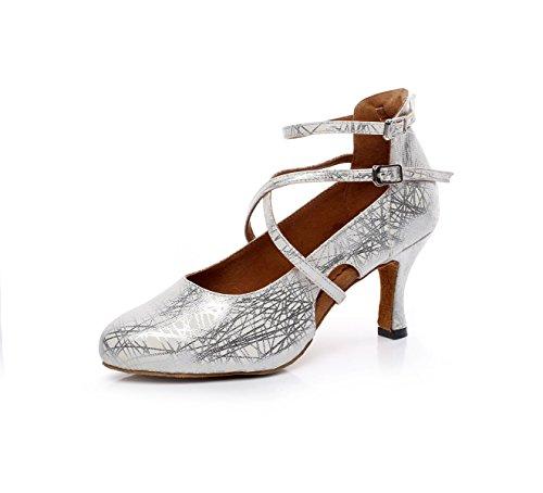 De De Latino Jazz heeled5 De Moderno Our41 Zapatos Zapatos Baile EU40 Samba Silver Mujer JSHOE 5cm Baile 5 De Cuero Chacha UK6 Oxq456nYw