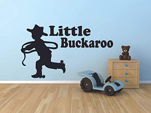 Little Buckaroo Cowboy Quotes Bull Rodeo Country Boots Wall Sticker Vinyl Wall Art Decal for Cowboy Cowgirl Girls Boys Bedroom Garage Fun House Home Sticker Wall Art Vinyl Decoration Size (6x10 inch)