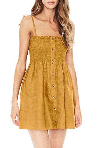 Twotwowin Women's Sleeveless Summer Beach Dresses Adjustable Strappy Button Down Mini Dress