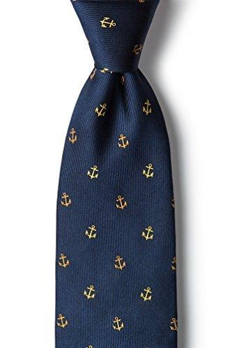 Men's Navy Blue Nautical Anchor 100% Silk Necktie Tie Neckwear -