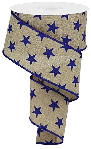 (Stars Wired Edge Ribbon - 10 Yards (Light Beige, Navy Blue, 2.5