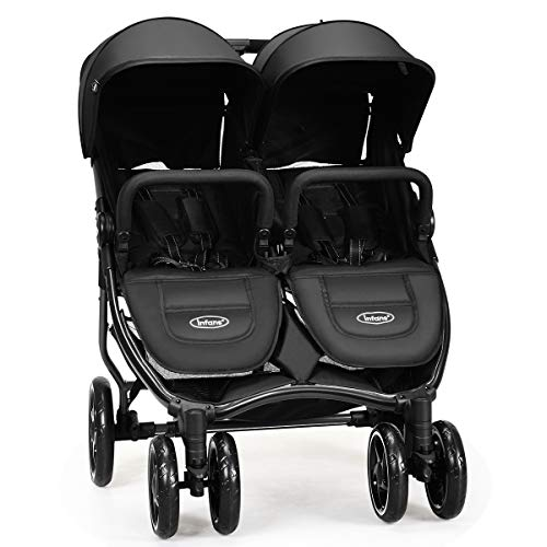 INFANS Double Stroller, Lightweight & Folding Duo Baby Stroller with Side by Side Twin Seats, Night Reflective 5-Point…