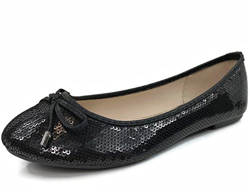Sequin Ballet Flat - Forever Collection Womens Crystal Rhinestone Coverered Ballet Flats Slip On Karra-51, Black, 9