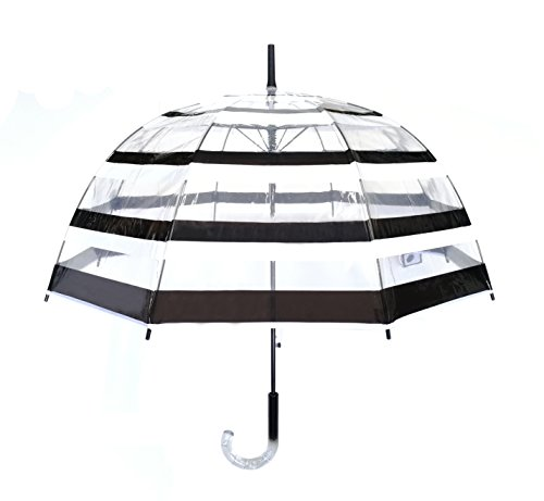 SMATI Stick Automatic Clear Stars Umbrella - Birdcage Dome See Through (Transparent Black White...