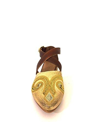 Argento In54 Scarpe Sandali Pelle Oro In Ricamo Mainapps Punta wSoAvqxXUR