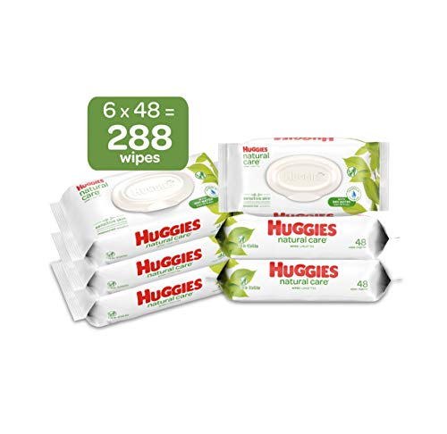 HUGGIES Natural Care Unscented Baby Wipes, Sensitive, 6 Disposable Flip-top Packs, 288 Count from HUGGIES