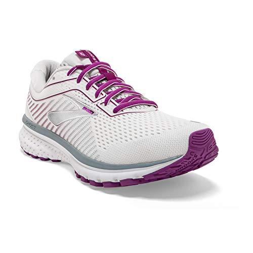 Brooks Womens Ghost 12 Running Shoe - White/Grey/Hollyhock - D - 10.5
