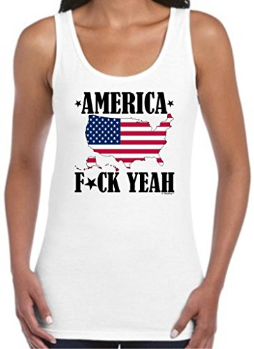 America F- Yeah Juniors Tank Top Small White
