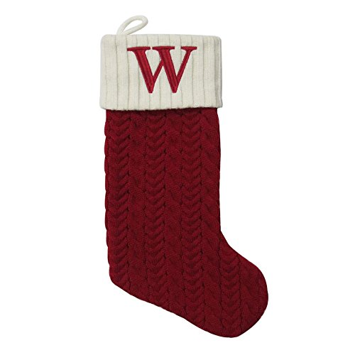 St. Nicholas Square 21-inch Monogram Embroidered Initial Cable Knit Red Christmas Holiday Stocking Letter -