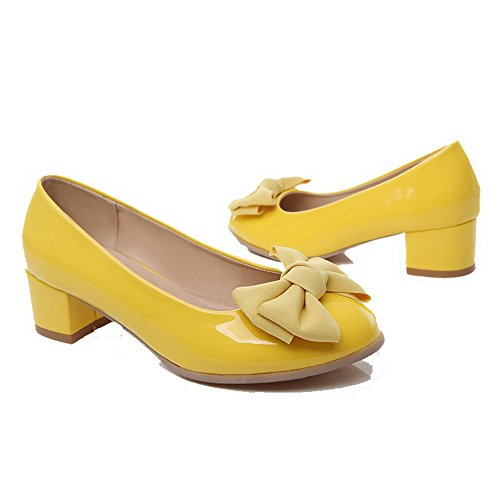 AmoonyFashion Womens PU Pull-On Low-Heels Solid Pumps-Shoes Yellow FTA7iB