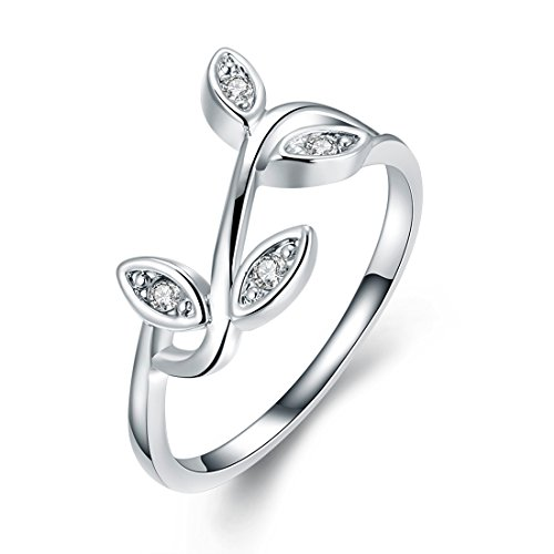 Elegant Leaf - [Eternity Love] Women's 18K White Gold Plated Pretty Elegant Leaf CZ Crystal Engagement Rings Best Promise Rings for Her Anniversary Cocktail Wedding Bands TIVANI Collection Jewelry Rings
