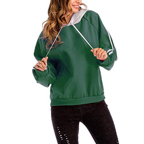 セーター 女性、三番目の店 女 プラスサイズ カジュアル カラー ブロック フード付き ブラウス ルーズ ストライプ スエットシャツ