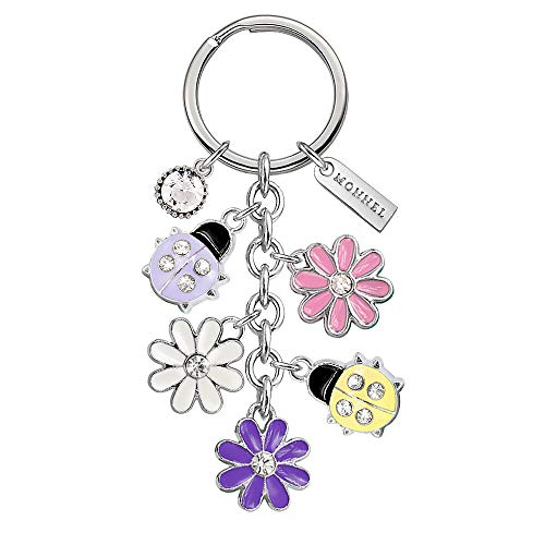 New Pendant 0.25 (Monnel New Cute Multicoloured Ladybugs Flowers Charms Pendants Keychain with Velvet Bag Z554)