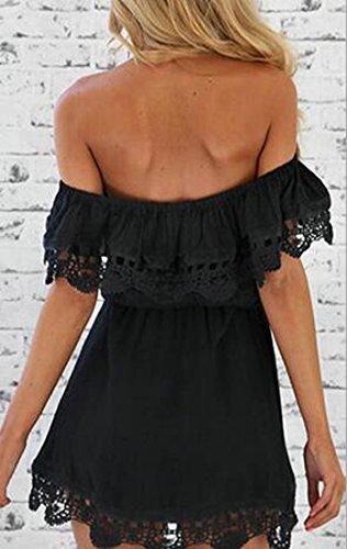 Dentelle Cruiize Des Femmes Garniture Épaule Sexy De Balançoire Solide Courte Robe Noire