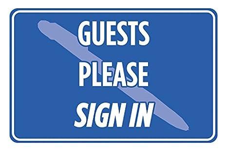 Amazon.com: Huéspedes Please Sign en Blue Print Aviso ...